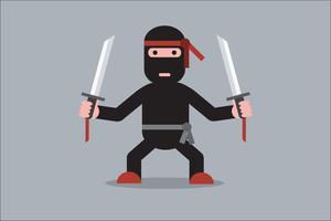 Personnage de dessin animé ninja vecteur