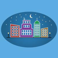 Paysage de nuit urbain plat de vecteur