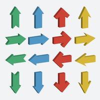 Vecteur série d'icône de flèche de couleur différente