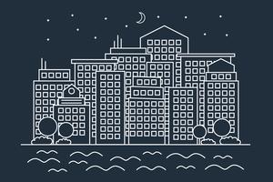 Ville de nuit linéaire moderne vecteur