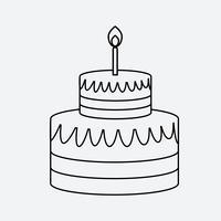 Style de plat minimal icône de gâteau linéaire vecteur