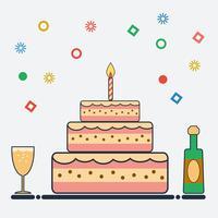 Conception d'anniversaire dans un style plat vecteur