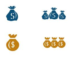 Icône de sac d'argent modèle illustration vectorielle