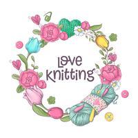 Ensemble pour le modèle de logo à la main, des éléments et des accessoires pour le crochet et le tricot.