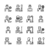 Jeu d'icônes d'avatar de sport. Illustration vectorielle