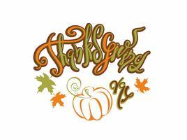 Jour de Thanksgiving. Caractères. Carte de vacances. Citrouille. Vecteur.