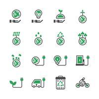 Jeu d'icônes de l'écologie. Illustration vectorielle vecteur
