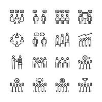Jeu d'icônes de travail d'équipe. Illustration vectorielle vecteur