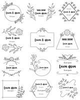 Cadres floraux dessinés à la main pour la marque vecteur