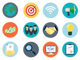 Icônes commerciales définies 12 pièces pour les entreprises de marketing numérique et de référencement Web. vecteur