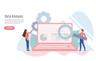 Concept d'analyse de données avec caractère. Design plat créatif pour la bannière web