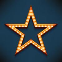 Cadre étoile à cinq branches éclairé par des ampoules
