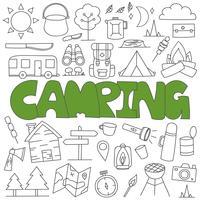 Set de camping doodle dessiné à la main vecteur