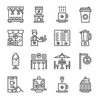 Jeu d'icônes de café-restaurant. Illustration vectorielle