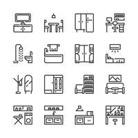 Jeu d'icônes intérieur et mobilier. Illustration vectorielle