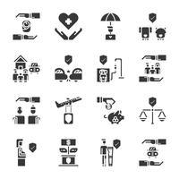Jeu d'icônes d'assurance. Illustration vectorielle
