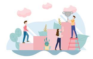 Concept de succès commercial équipe avec personnage. Design plat créatif pour la bannière web