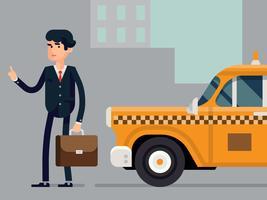 Scène de passagers de taxi vecteur
