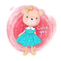 Fille de dessin animé mignon ours en peluche sur un fond rose vecteur