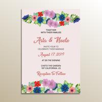 joli cadre d'invitation de mariage floral