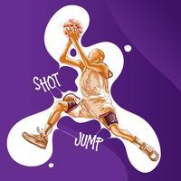 basket-ball sauter tir peinture vecteur