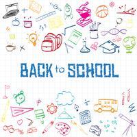 Retour à l'école, fond de concept de l'éducation avec symboles et icônes de l'art en ligne vecteur