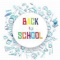 Retour à l'école, fond de concept de l'éducation avec symboles et icônes de l'art en ligne