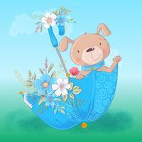 Chien de dessin animé mignon dans un parapluie avec des fleurs, affiche imprimée carte postale pour une chambre d'enfant. vecteur
