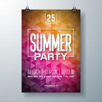 Vector été Flyer Party Flyer Design avec lettre de typographie sur fond abstrait. Illustration de vacances d'été pour flyer bannière