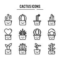 Cactus icon set in contour design