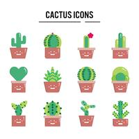 Icône de cactus au design plat