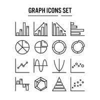 Icône de graphique et diagramme dans la conception de contour vecteur