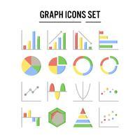 Icône de graphique et diagramme au design plat vecteur