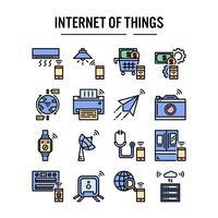 Internet des icônes de choses dans la conception de contour rempli