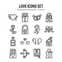 Icône d'amour dans la conception de contour