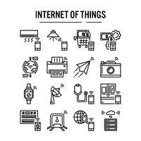 Internet de l'icône de choses dans la conception de contour vecteur