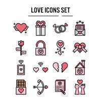 Icône de l'amour dans la conception de contour rempli