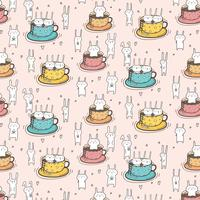 Modèle avec des lapins mignons dans la tasse. Illustration vectorielle