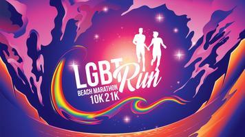 LGBT Marathon près de la plage thème vecteur