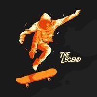 saut silhouette de skate vecteur