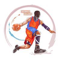 aquarelle de dribble de basket-ball vecteur