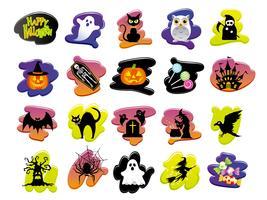 Ensemble d'icônes assorties d'interface utilisateur Happy Halloween.