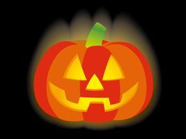 Jack-o'-lantern sur fond noir, illustration vectorielle.