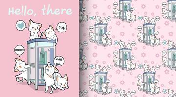 Modèle de chats kawaii sans soudure et cabine téléphonique vecteur