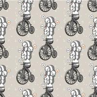 Panda kawaii sans couture avec le modèle de vélo vintage vecteur