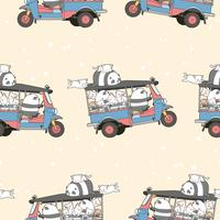 Kawaii sans couture chats et panda sur le modèle de tricycle à moteur. vecteur