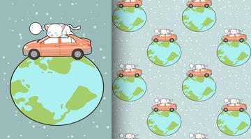 Chat kawaii sans couture avec voiture au motif du monde