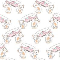 Seamless 2 chats kawaii jouent au motif jouet hélicoptère. vecteur