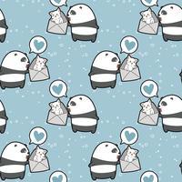 Le panda kawaii sans couture tient le chat dans le motif de l'enveloppe vecteur