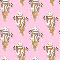 Pandas kawaii sans soudure sur un motif de cornet de crème glacée